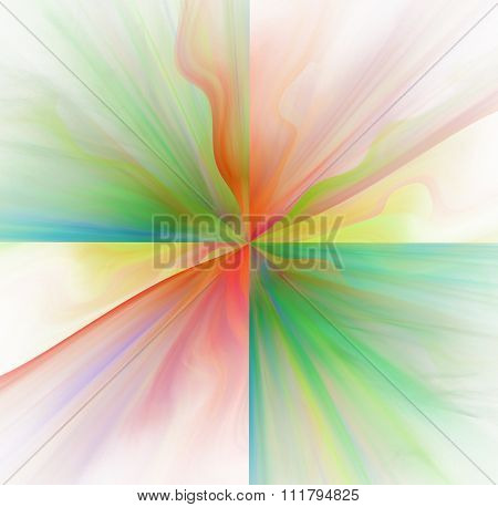 Abstract White Background With Rainbow Or Red And Green Color Flower Or Rays In The Center Texture,