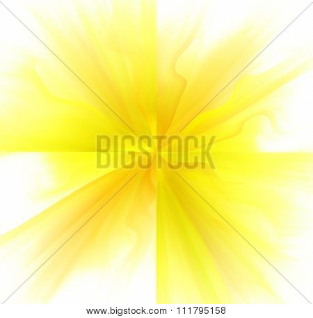 Abstract White Background With Orange And Yellow Color Flower Or Rays In The Center Texture, Fractal