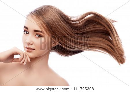 Very Young Girl With Bushy Hair Flying.