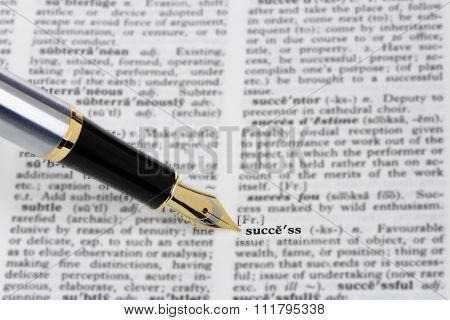 Pen With 'success' In A Dictionary