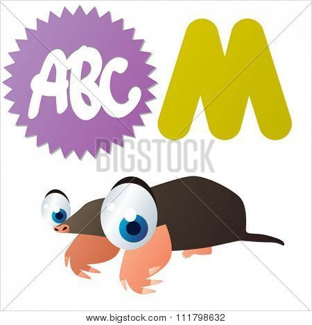 vector cute comic cartoon cool animals alphabet set: M is for Mole