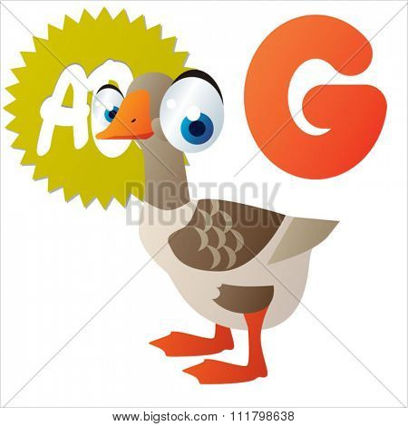 vector cute comic cartoon cool animals alphabet set: G is for Goose