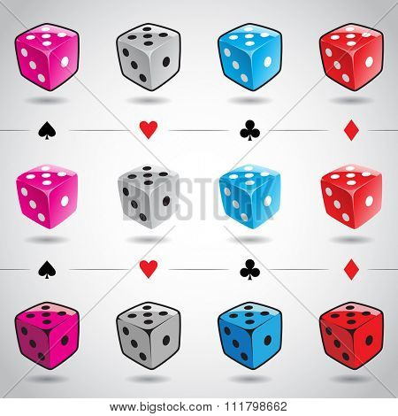 Vector Illustration 3d Colorful Glossy Dices and Card Suits isolated on a white background