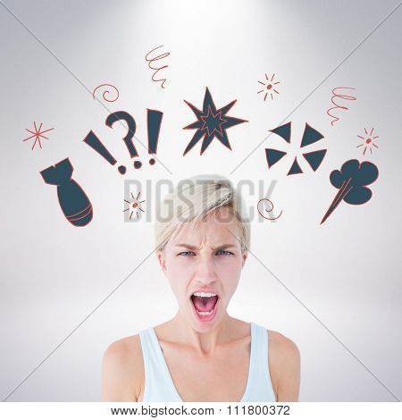 Angry blonde woman screaming against grey background