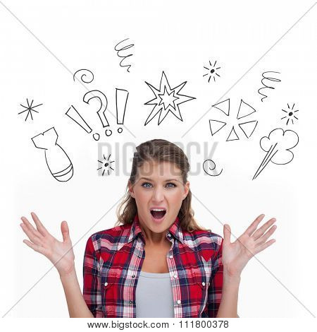 Shocked woman screaming against swearing doodles