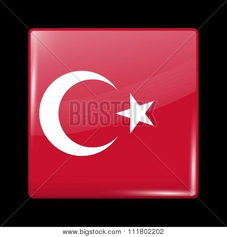 Flag Of Turkey. Glassy Icon Square Shape