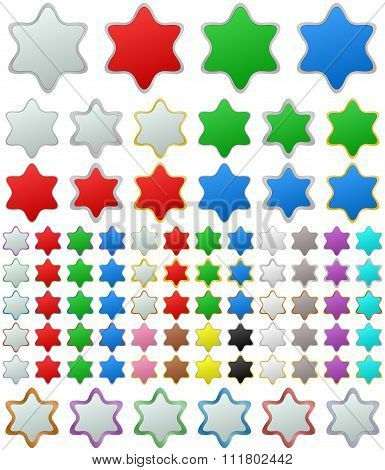 Color metallic star button set