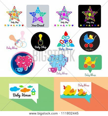 Baby store logo. Toys logo icon. Baby shop logo template.
