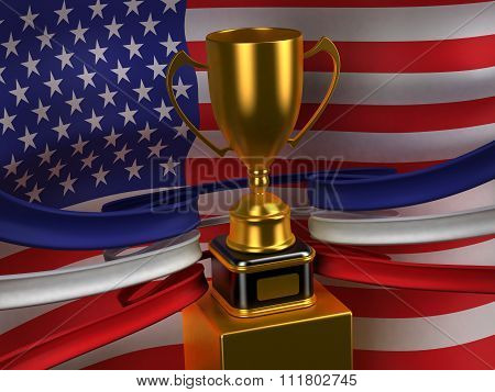 USA flag with gold cup