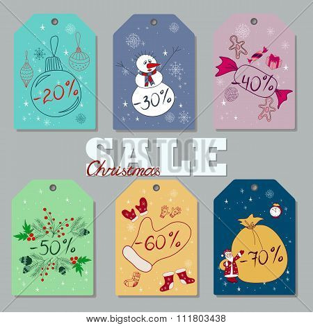Set of Christmas and New Year discount tags