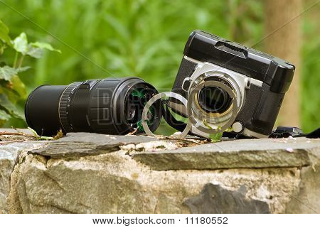 dropped camera and lens