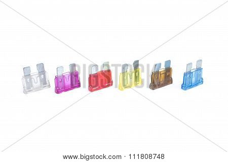 Car Fuse. Colorful Electrical Automotive Fuses Or Circuit Breakers Isolated On White Background