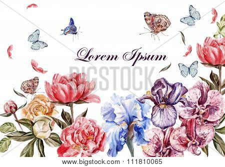 Beautiful watercolor card with peony flowers, roses and orchid flower. Butterflies and plants.