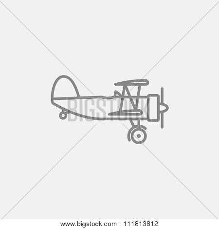 Propeller plane  line icon for web, mobile and infographics. Vector dark grey icon isolated on light grey background.