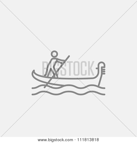 Sailor rowing a boat line icon for web, mobile and infographics. Vector dark grey icon isolated on light grey background.