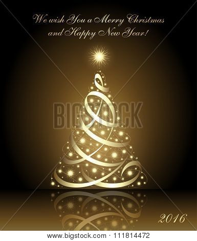 We wish you a Merry Christmas and Happy New Year 2016 card with gold christmas tree, vector