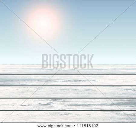 Scene of wooden floor over blue sky with sun, vector 3D illustration.