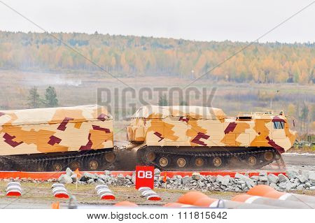 Tracked carrier DT-30P1 in action. Russia