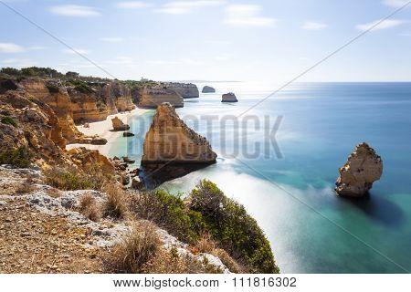 Long exposure at the beach praia da Marinha, Lagoa, Algarve Portugal