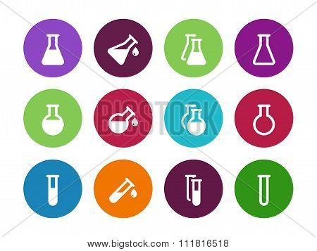 Chemistry flask circle icons on white background.