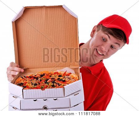 Delivery boy with cardboard pizza boxes isolated on white