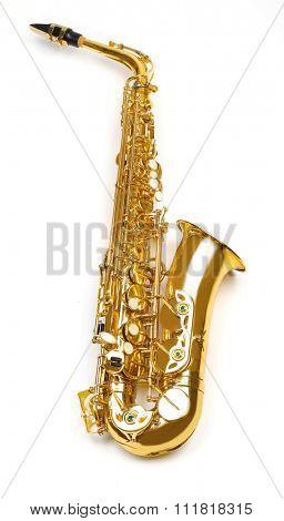 Golden saxophone isolated on white background