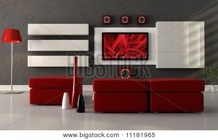 Modern Lounge With Flat Screen Tv