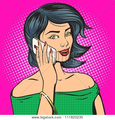 Beautiful young woman with phone pop art vector