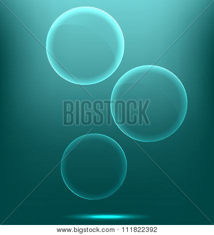 Glassy infographic circles icons on cyan