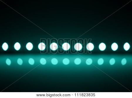 Play Of Cyan Light On Defocusing Blur Led Lamps Background