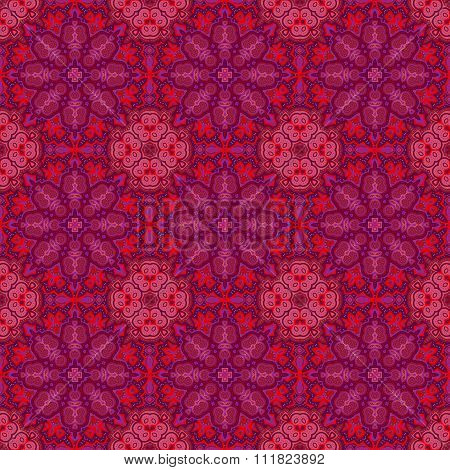 Seamless vector colorful pattern. East purple ornament colorful details on the turquoise background.