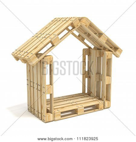 House made of Euro pallets. Side view. 3D