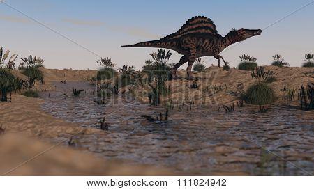 walking spinosaurus dinosaur