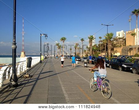 People are walking at the waterfront of Beirut Lebanon