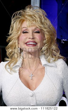 HOLLYWOOD, CALIFORNIA - January 9, 2012. Dolly Parton at the Los Angeles premiere of