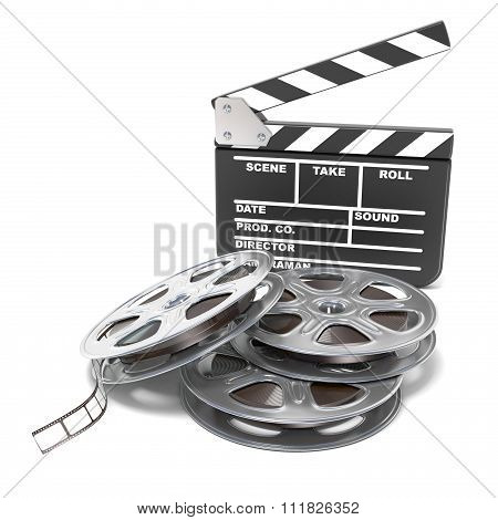 Film reels and movie clapper board. Video icon. 3D