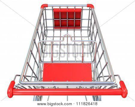 Shopping cart top view. 3D render
