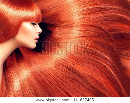 Beautiful Hair. Beauty woman with luxurious long red hair as background. Beauty Model girl with Healthy Hair. Beautiful woman with long smooth shiny straight hair. Hairstyle. Hair cosmetics, haircare