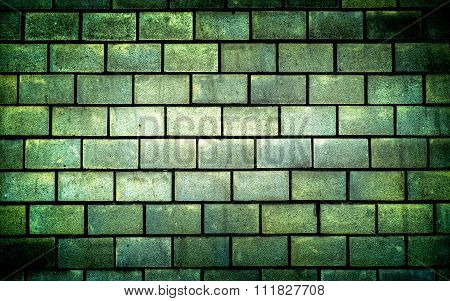 Texture Of Green Decorative Tiles In Form Of Brick High Contrasted With Vignetting Effect