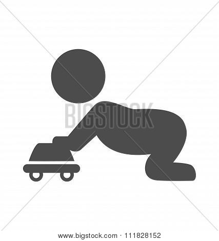 Baby plays with toy car pictogram flat icon isolated on white