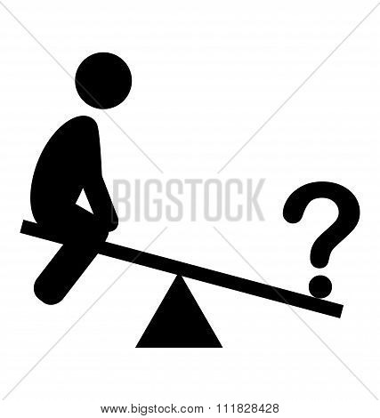 Confusion Man on Swing People with Question Mark Flat Icons Pict