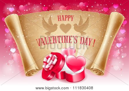 Valentines Day greeting card with two red hearts, open gift box in heart shape, text Happy Valentines Day on old scroll paper. Vector illustration.