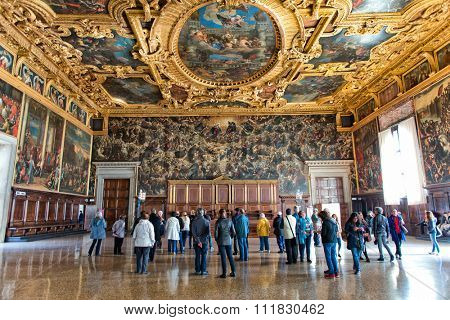VENICE, ITALY - 17 OCTOBER 2015: Interior of the Palazzo Ducale (Doge's Palace) in Venice, Italy on 17 October 2015.