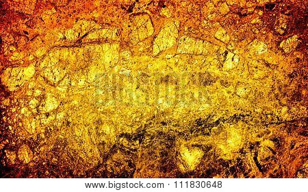 Texture Of Gold Marble Slab Macro High Contrasted With Vignetting Effect