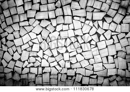 Texture Of Asymmetric Decorative Tiles Black And White High Contrasted With Vignetting Effect