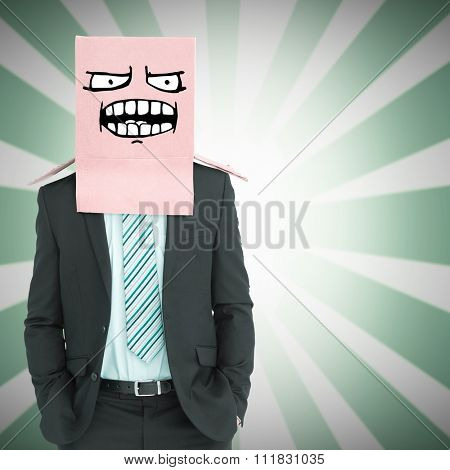 Anonymous businessman against linear background