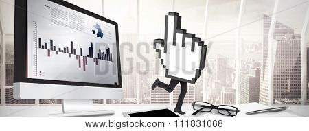 Cursor with legs against window overlooking city