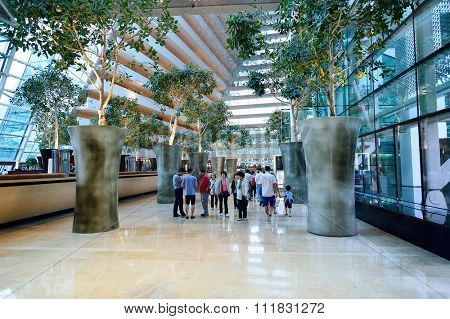 SINGAPORE - NOVEMBER 08, 2015: inside the Marina Bay Sands Hotel. Marina Bay Sands is an integrated resort fronting Marina Bay in Singapore
