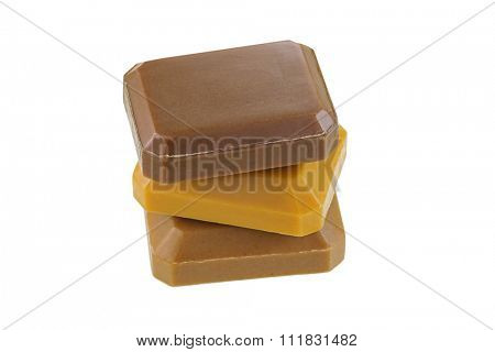Bars of herbal soaps with natural ingredients : Mangosteen shell, Turmeric and Rice Bran, isolated on white