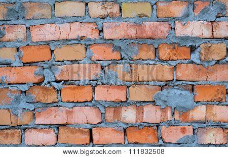 Fresh Red Clay Brickwork Detailed Texture Background